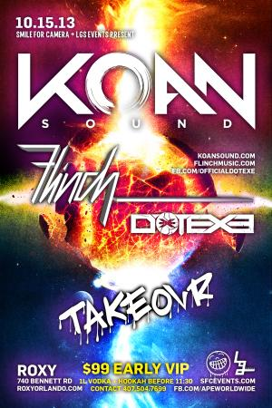 KOAN SOUND + FLINCH + DOTEXE @ TAKEOVR