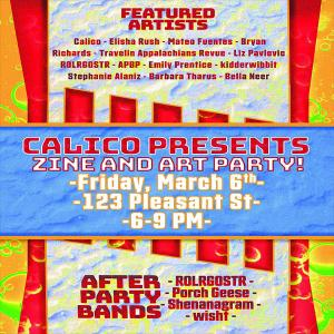 Calico Zine and Art Party Concert with Rolrgostr, Porch Geese, Shenanagram, wisht
