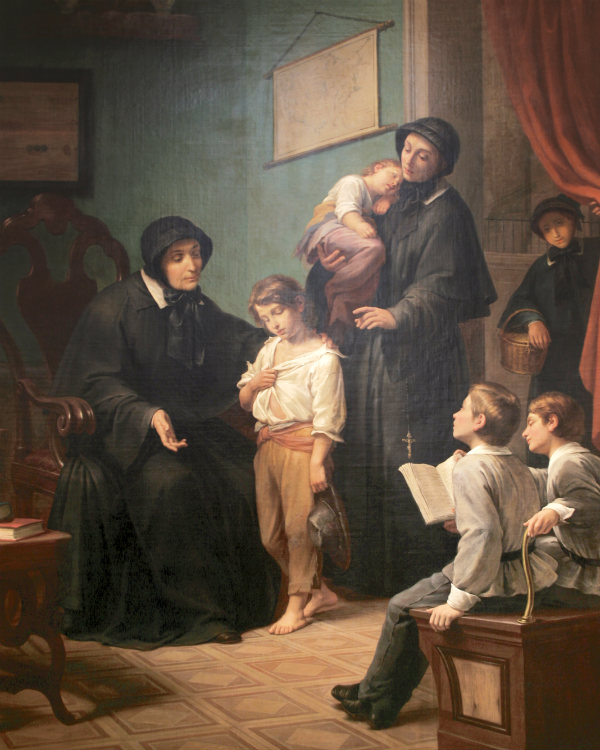 Sisters of Charity by Pietro Gagliardi, 1873  Oil on canvas.   Sisters of Charity caring for orphaned children in New York. Courtesy, Sisters of Charity of New York