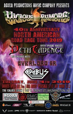 Vicious Rumors 40th Anniv. Road Rage Tour 2019