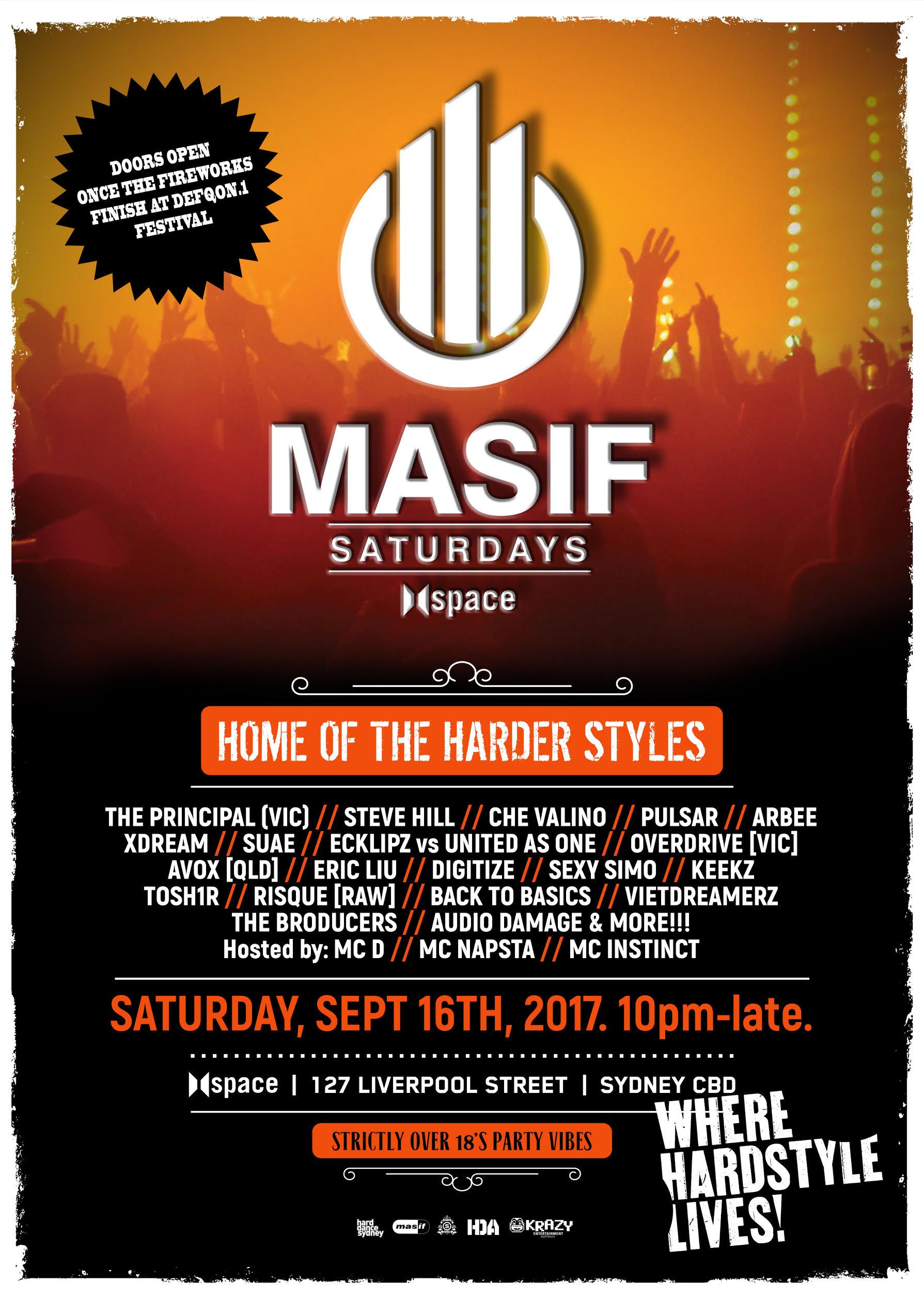 MASIF SATURDAYS - HOME OF THE HARDER STYLES