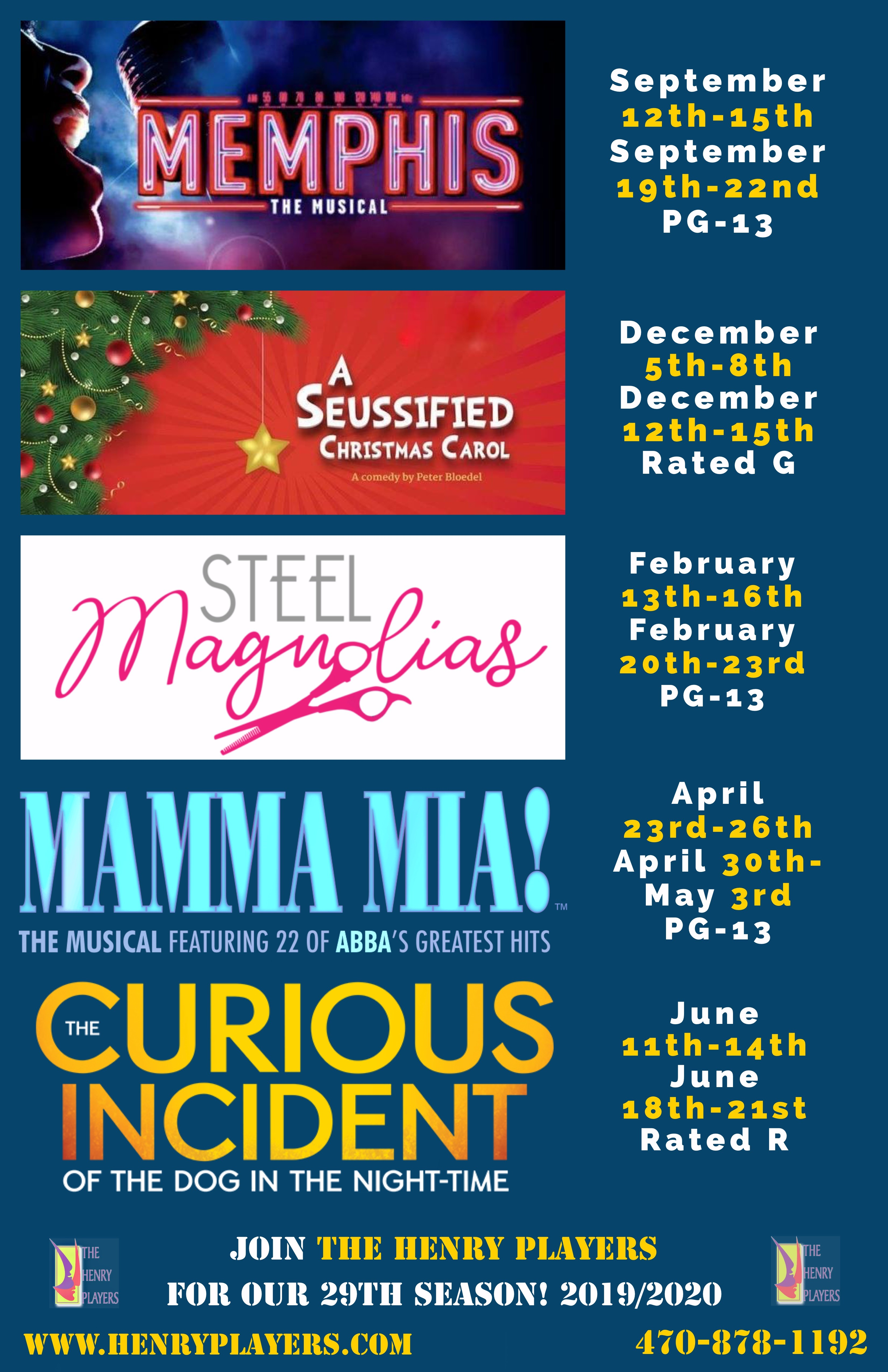 December 2020 Calendar Mainstage Tickets for MainStage Season Ticket Package 2019 2020 in McDonough